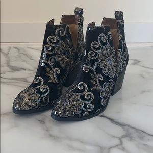 Naughty Monkey velvet brocade boot